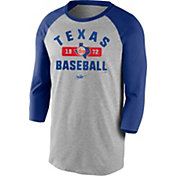 Nike Men's Texas Rangers Grey Cooperstown Vintage Raglan Three-Quarter Sleeve Shirt