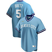 Nike Men's Kansas City Royals George Brett #5 Blue Cooperstown V-Neck Pullover Jersey