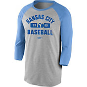 Nike Men's Kansas City Royals Grey Cooperstown Vintage Raglan Three-Quarter Sleeve Shirt