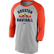 Nike Men's Houston Astros Grey Cooperstown Vintage Raglan Three-Quarter Sleeve Shirt
