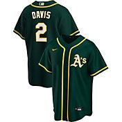 Nike Men's Replica Oakland Athletics Khris Davis #2 Green Cool Base Jersey