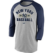 Nike Men's New York Yankees Grey Cooperstown Vintage Raglan Three-Quarter Sleeve Shirt