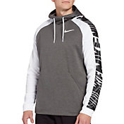 Nike Men's Therma Hoodie in Charcoal Heather/White