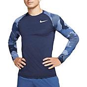 Nike Men's Pro Camo Slim Long-Sleeve Shirt in Obsidian/White