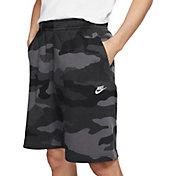 Nike Men's Sportswear Club Fleece Camo Shorts in Dark Grey