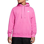 Nike Men's Sportswear Club Fleece Hoodie (Regular and Big & Tall) in Active Fuchsia