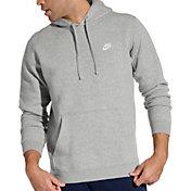 Nike Men's Sportswear Club Fleece Hoodie (Regular and Big & Tall) in Dark Grey Heather