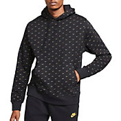 Nike Men's Sportswear Swoosh Pullover Hoodie in Black/Metallic Gold