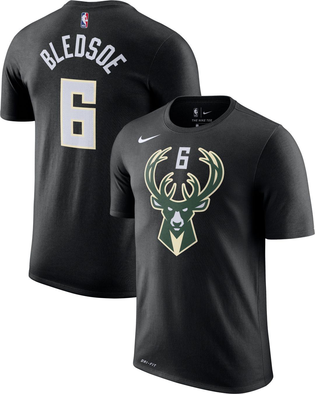 new style 19504 72f70 Nike Men's Milwaukee Bucks Eric Bledsoe #6 Dri-FIT Black T-Shirt