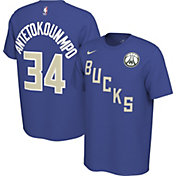 Nike Men's Milwaukee Bucks Giannis Antetokounmpo #34 Dri-FIT Blue Earned Edition T-Shirt