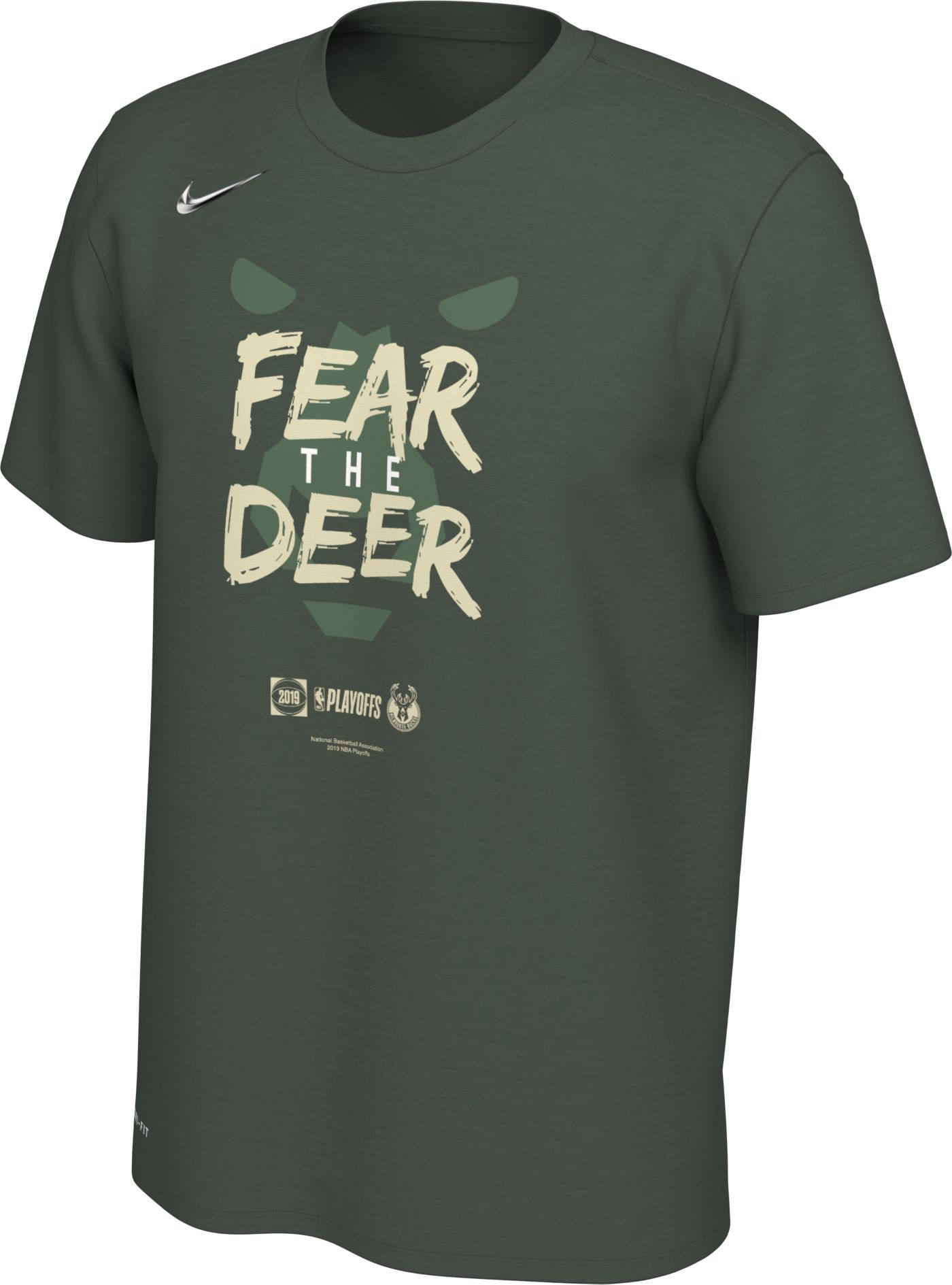 "Nike Men's Milwaukee Bucks 2019 Playoffs ""Fear The Deer"" Dri-FIT T-Shirt"