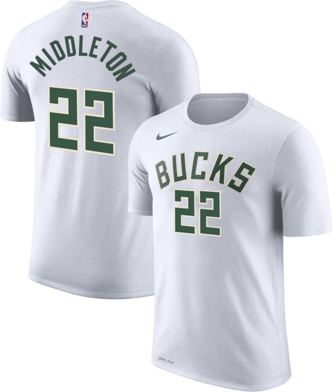 best website a0039 9e525 Nike Men's Milwaukee Bucks Khris Middleton #22 Dri-FIT White T-Shirt