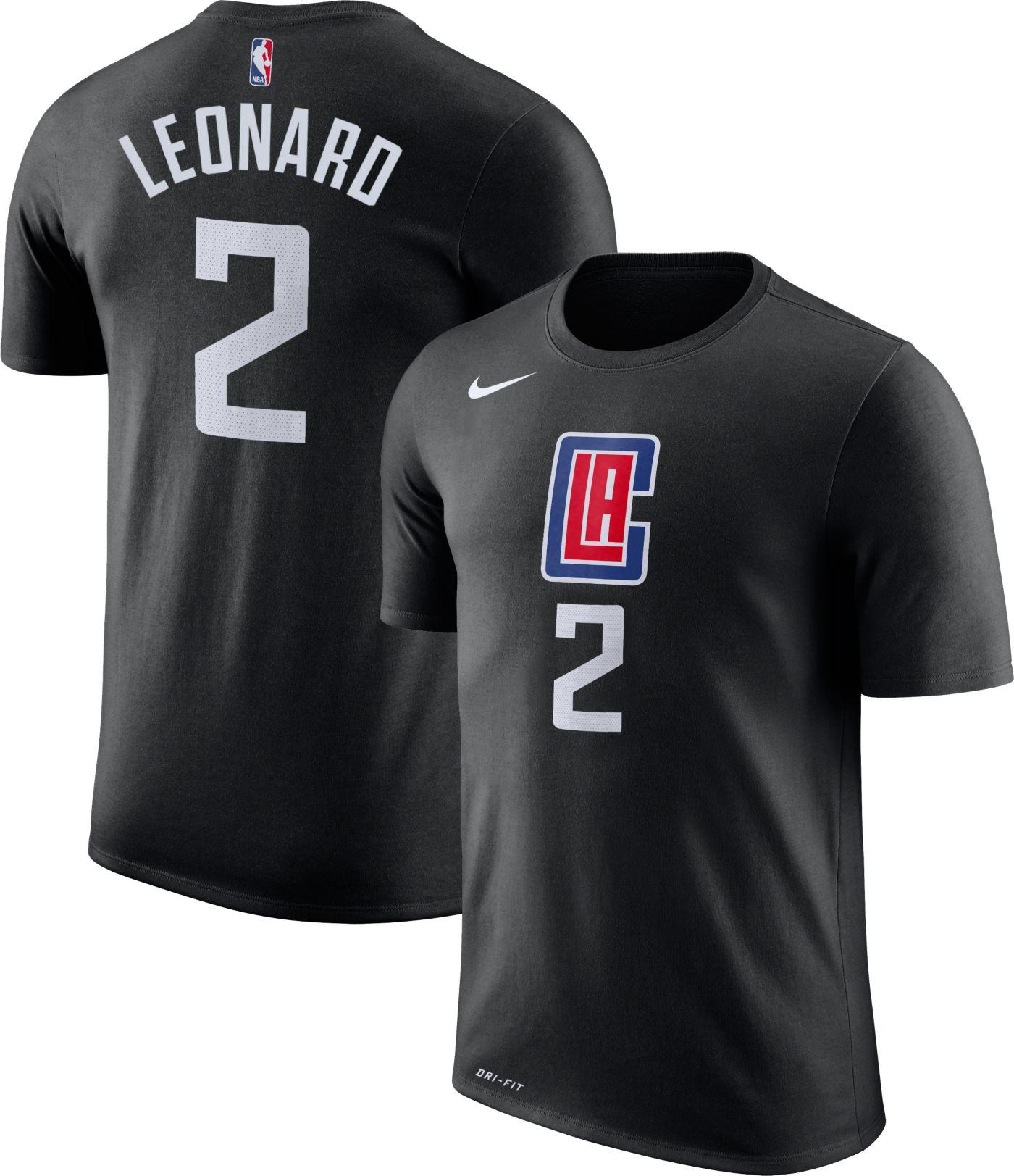 Nike Men's Los Angeles Clippers Kawhi Leonard #2 Dri-FIT Statement Black T-Shirt