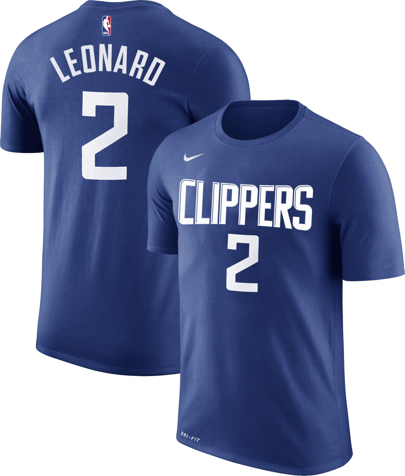 Nike Men's Los Angeles Clippers Kawhi Leonard #2 Dri-FIT Royal T-Shirt