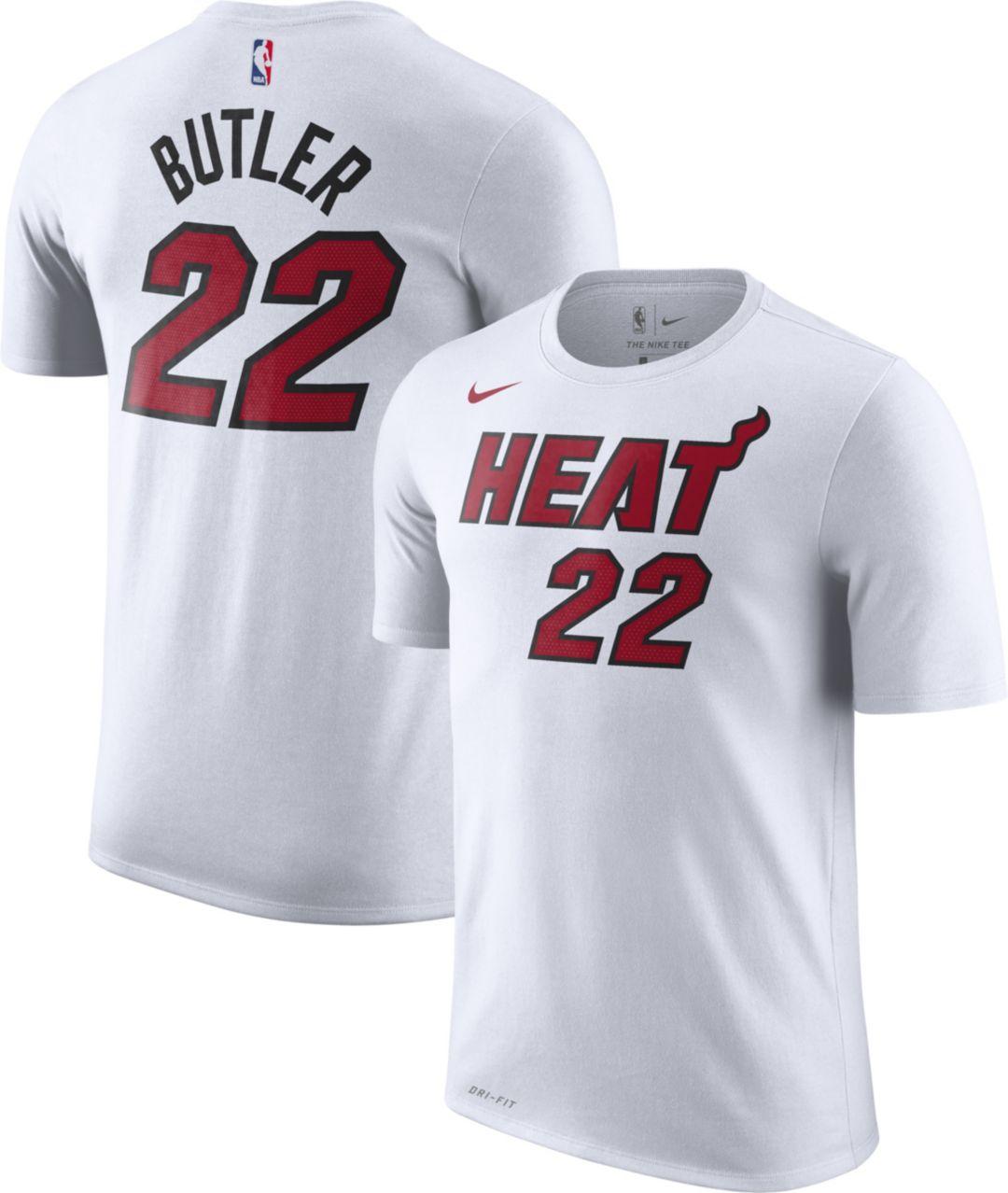 low priced 255fc d65b4 Nike Men's Miami Heat Jimmy Butler #22 Dri-FIT White T-Shirt
