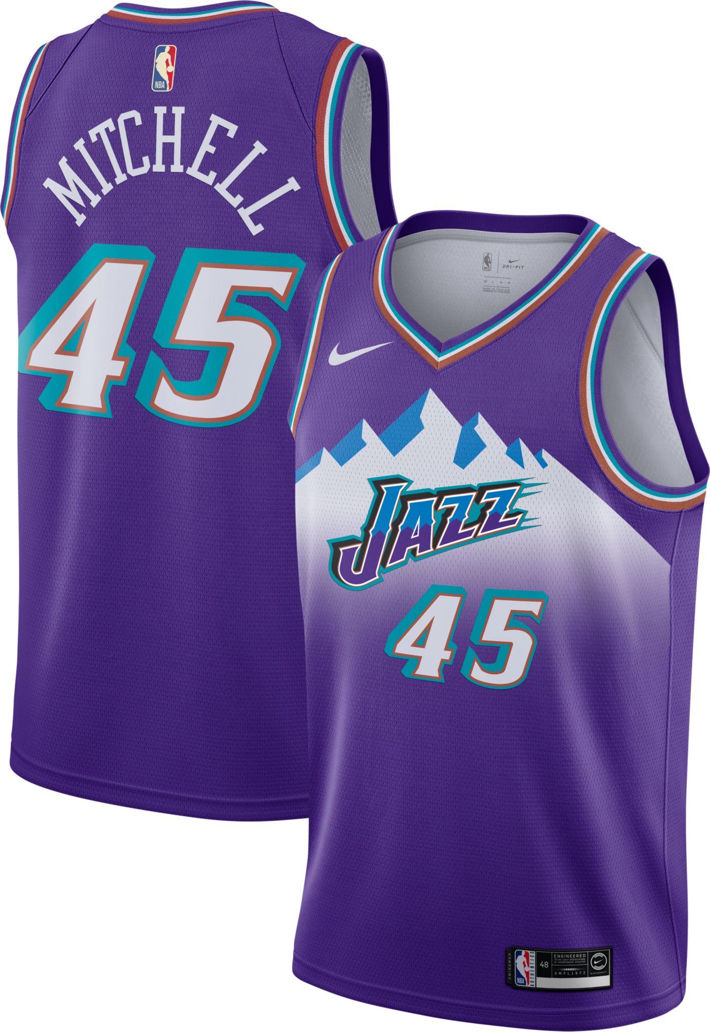 Nike Men's Utah Jazz Donovan Mitchell #45 Hardwood Classic Dri-FIT Swingman Jersey