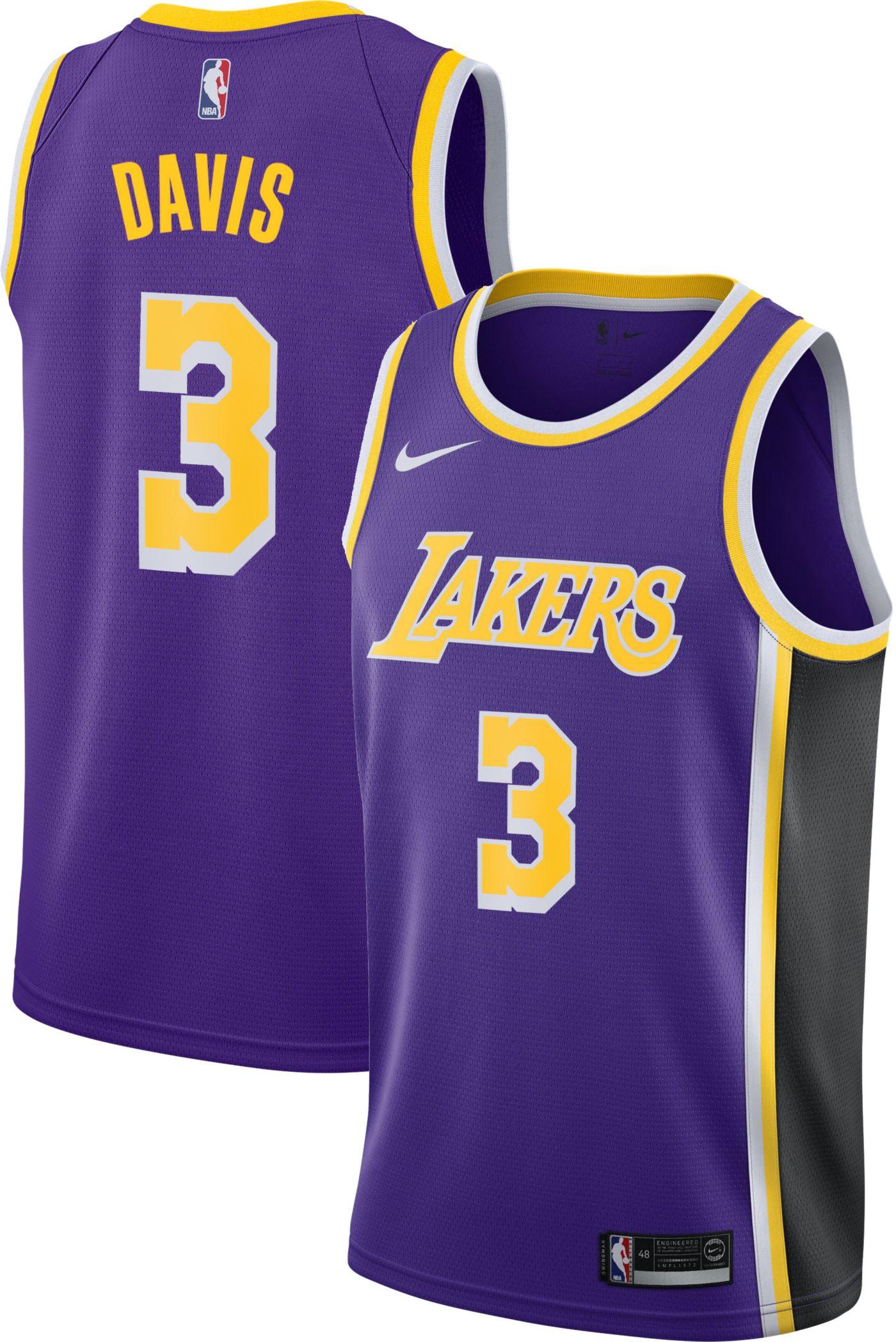 Nike Men's Los Angeles Lakers Anthony Davis #3 Purple Dri-FIT Swingman Jersey