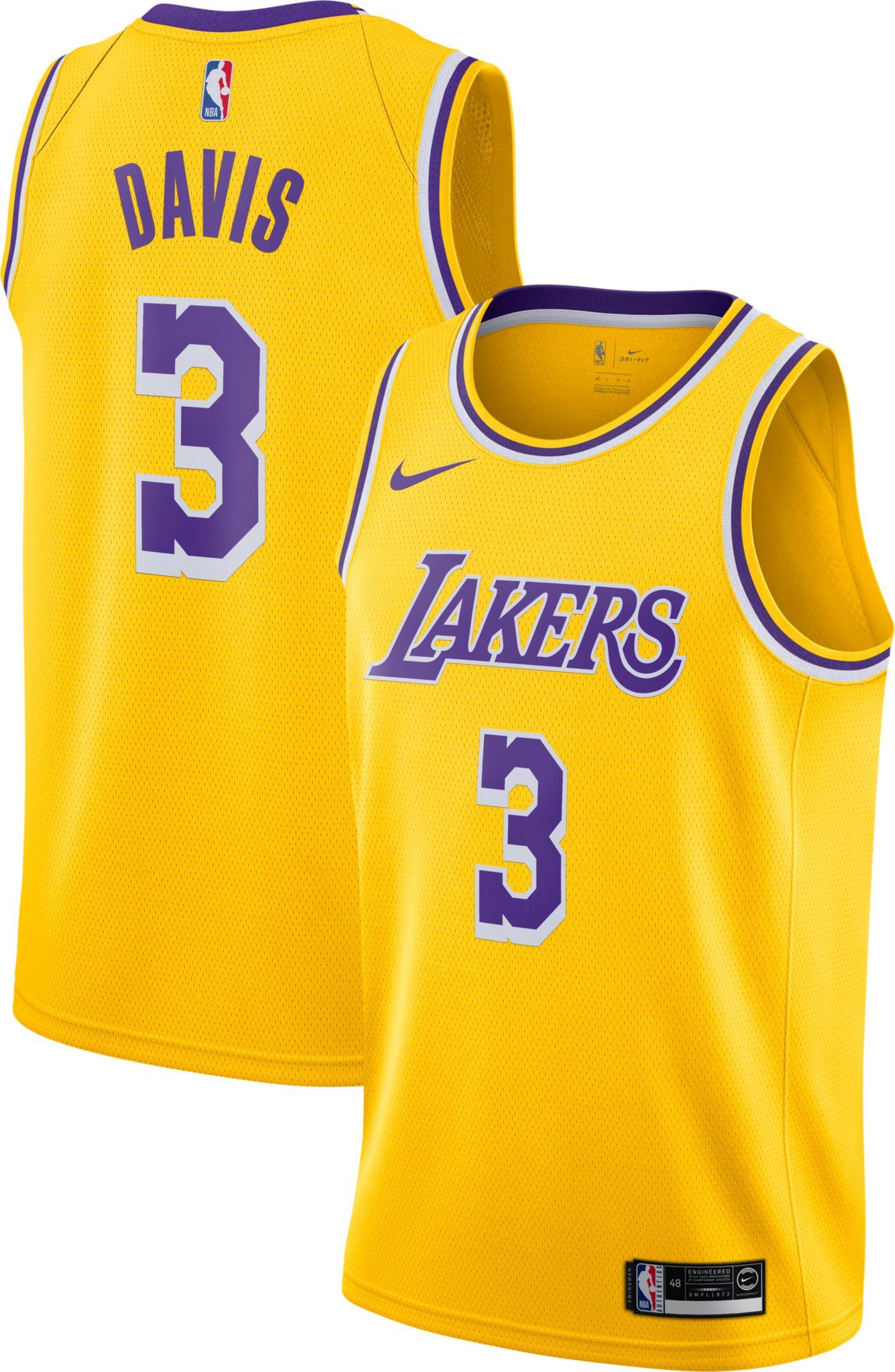 Nike Men's Los Angeles Lakers Anthony Davis #3 Gold Dri-FIT Swingman Jersey
