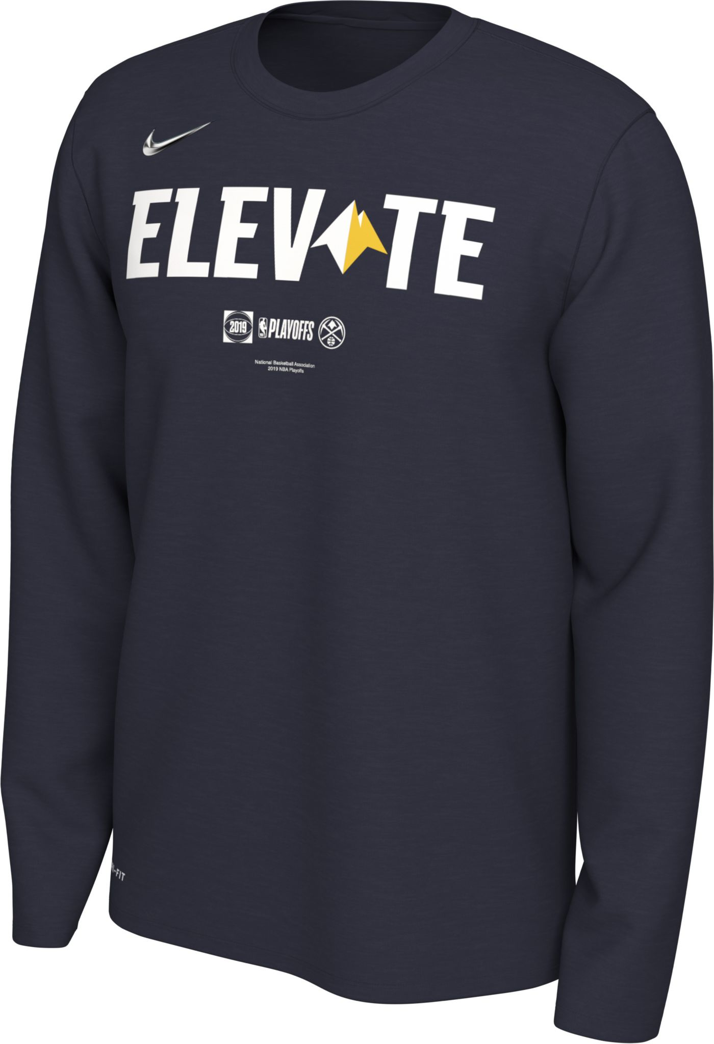 "Nike Men's Denver Nuggets 2019 Playoffs ""Elevate"" Dri-FIT Long Sleeve Shirt"
