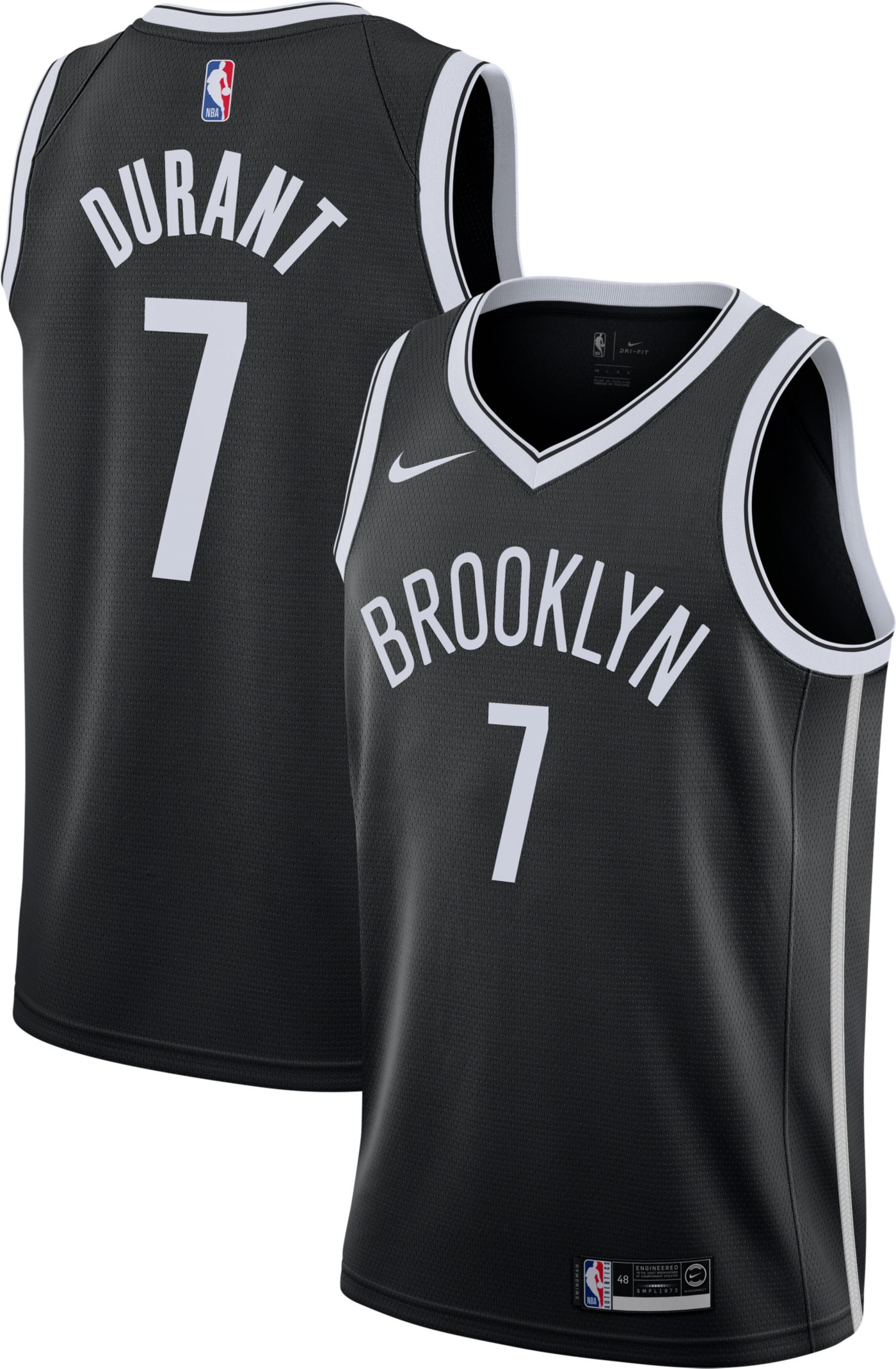 Nike Men's Brooklyn Nets Kevin Durant #7 Black Dri-FIT Swingman Jersey