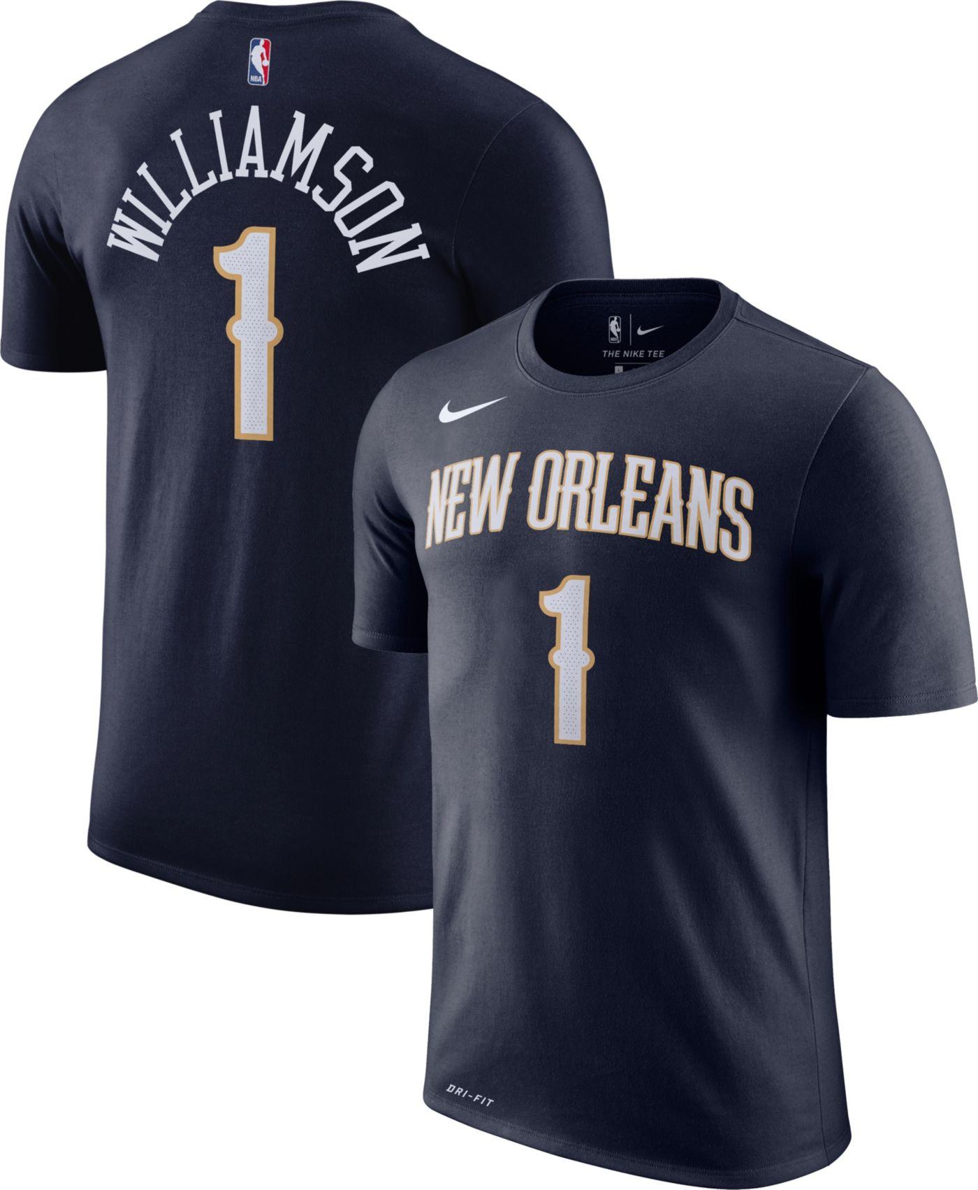 Nike Men's New Orleans Pelicans Zion Williamson #1 Dri-FIT Navy T-Shirt