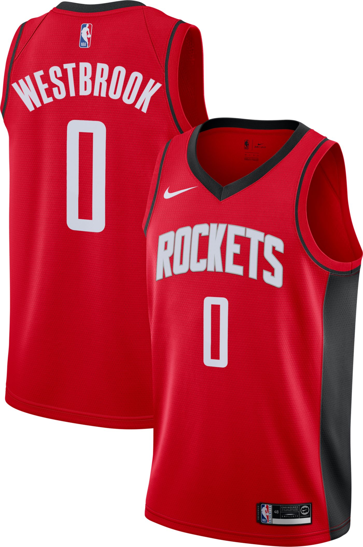 Nike Men's Houston Rockets Russell Westbrook #0 Red Dri-FIT Swingman Jersey