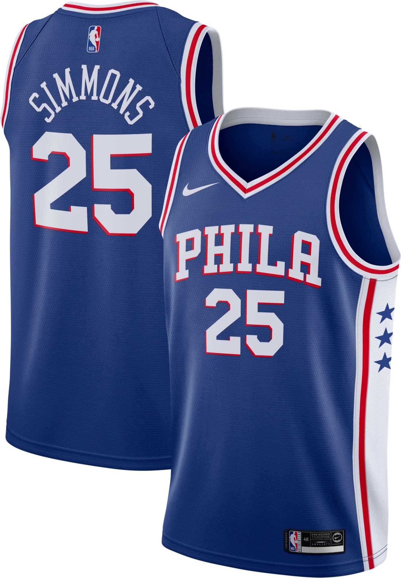 Nike Men's Philadelphia 76ers Ben Simmons #25 Royal Dri-FIT Swingman Jersey