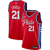 Nike Men's Philadelphia 76ers Joel Embiid #21 Red Dri-FIT Statement Swingman Jersey