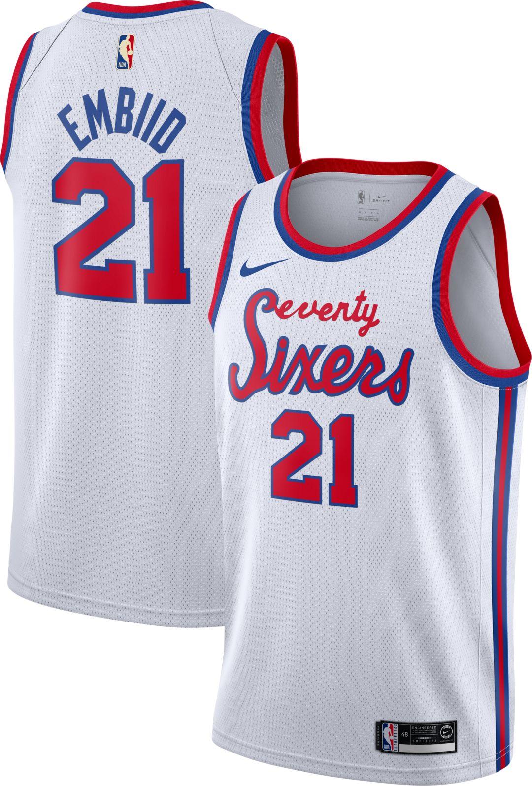 pretty nice 8aa2f f1f55 Nike Men's Philadelphia 76ers Joel Embiid #21 Hardwood Classic Dri-FIT  Swingman Jersey