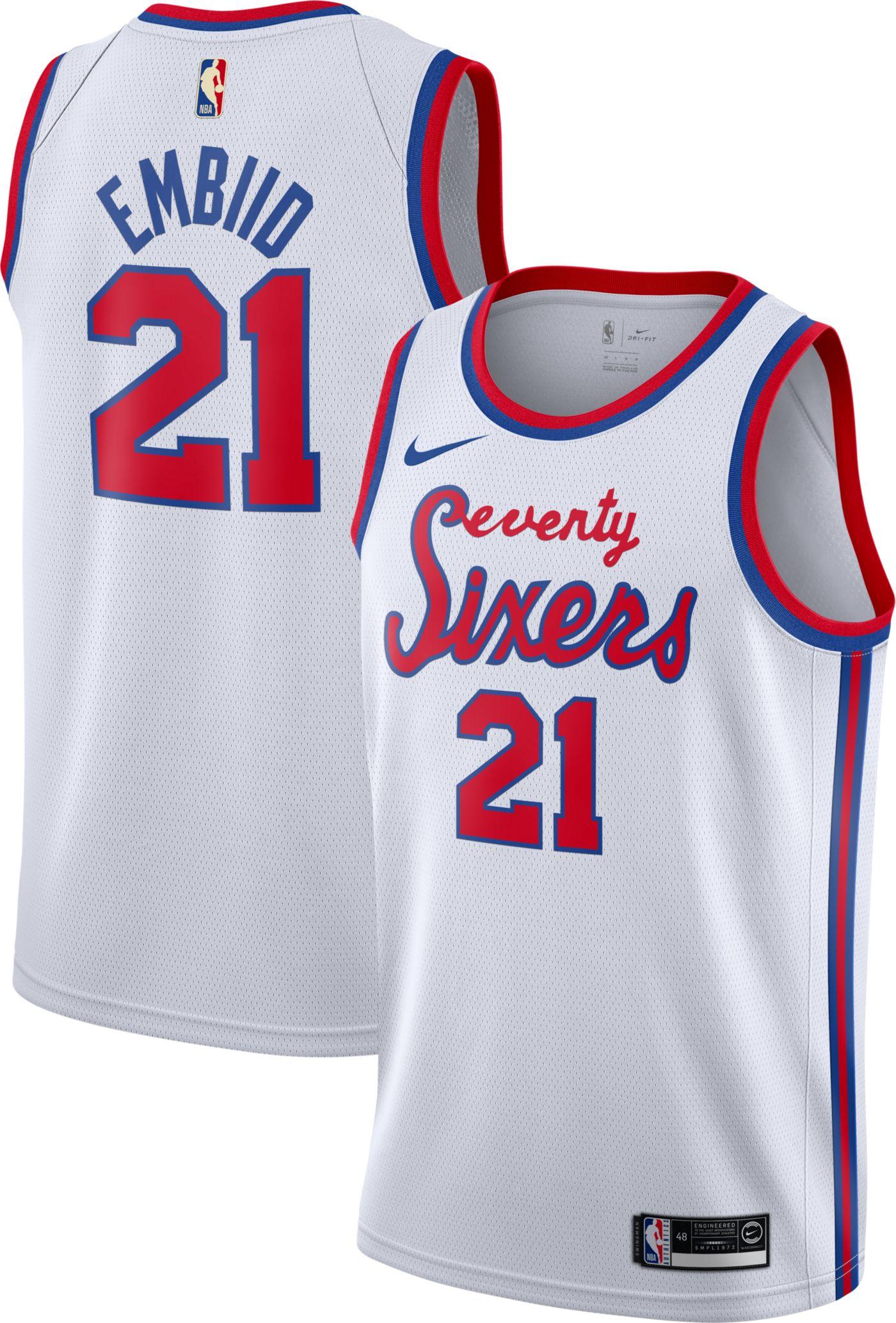 Nike Men's Philadelphia 76ers Joel Embiid #21 Hardwood Classic Dri-FIT Swingman Jersey