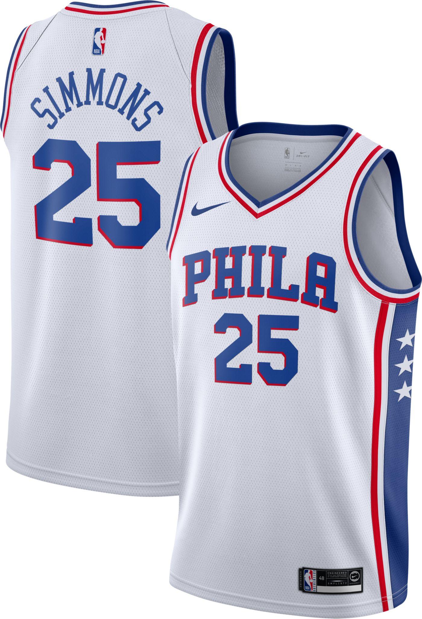 Nike Men's Philadelphia 76ers Ben Simmons #25 White Dri-FIT Swingman Jersey