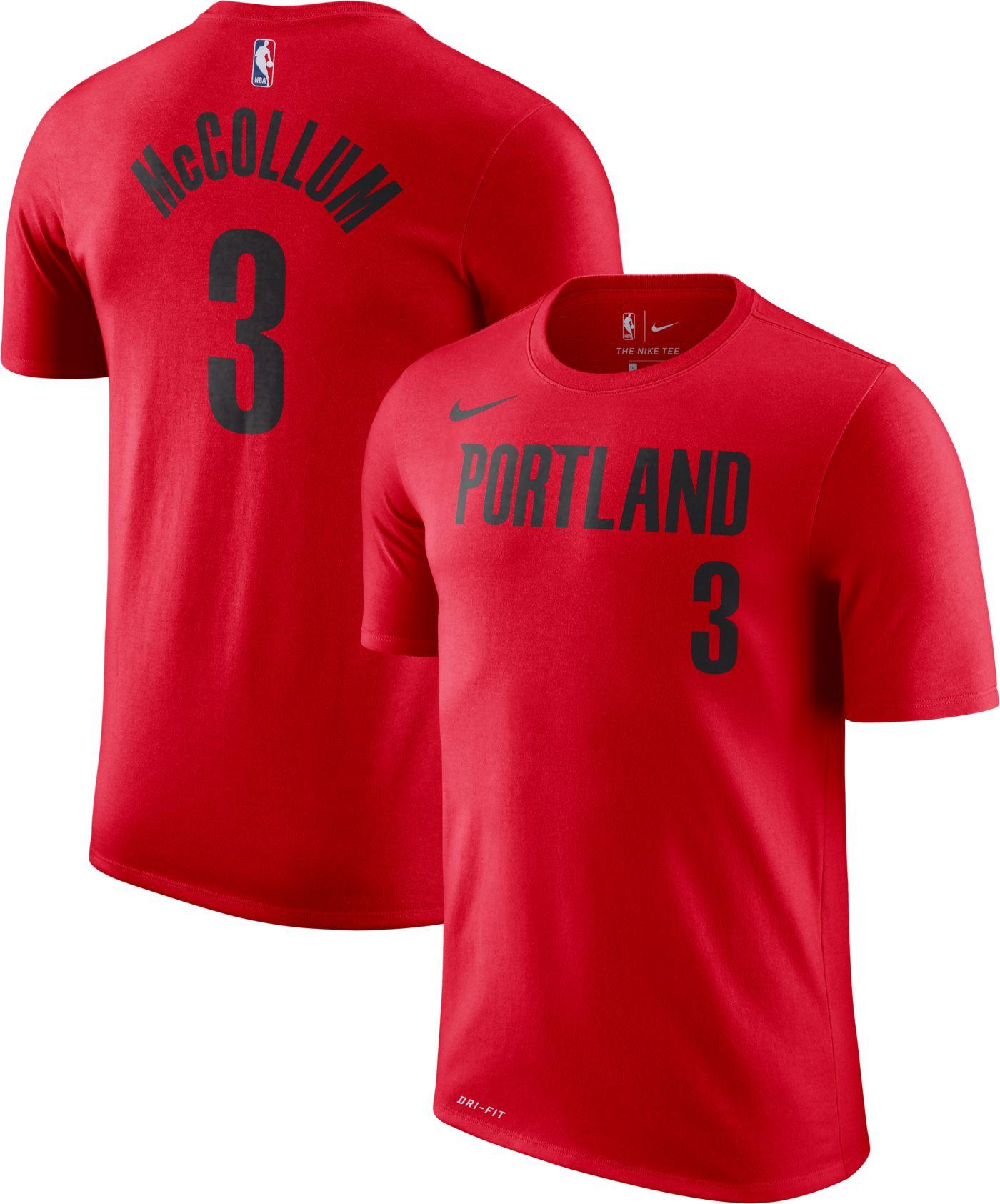 Nike Men's Portland Trail Blazers C.J. McCollum #3 Dri-FIT Red T-Shirt