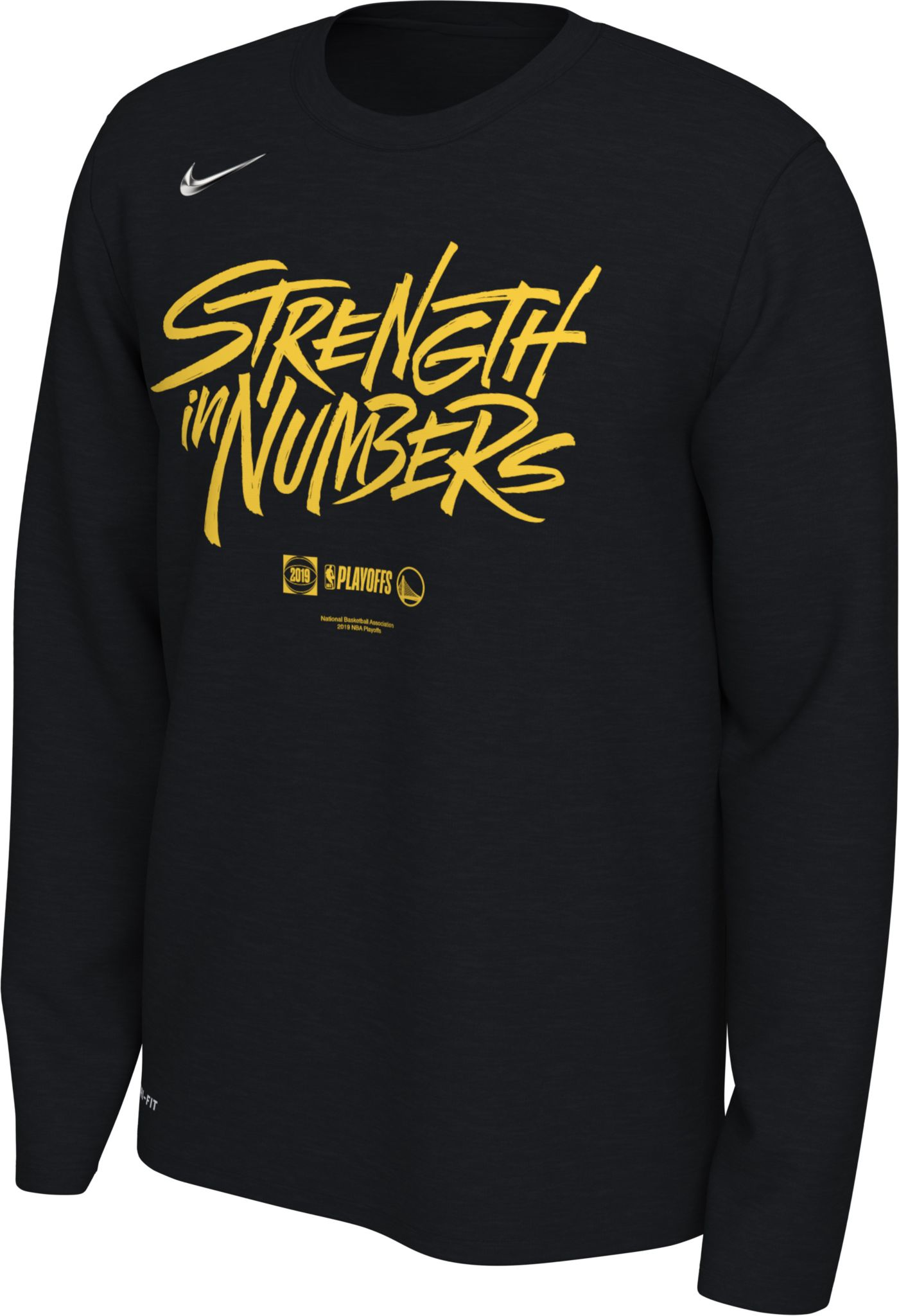 """Nike Men's Golden State Warriors 2019 Playoffs """"Strength In Numbers"""" Dri-FIT Long Sleeve Shirt"""