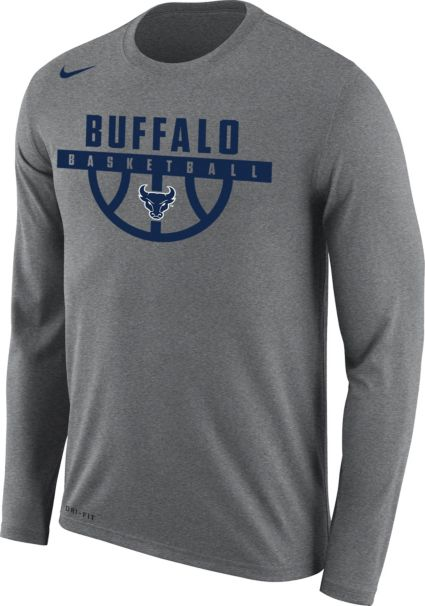 02347704 Nike Men's Buffalo Bulls Grey Dri-FIT Legend 2.0 Long Sleeve Basketball T- Shirt