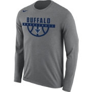 035e1738 Nike Men's Buffalo Bulls Grey Dri-FIT Legend 2.0 Long Sleeve Basketball T- Shirt