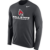 Nike Men's Ball State Cardinals Grey Dri-FIT Legend 2.0 Long Sleeve T-Shirt