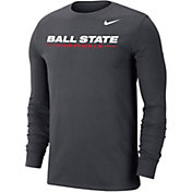 Nike Men's Ball State Cardinals Grey Wordmark Long Sleeve T-Shirt