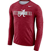 Nike Men's Alabama Crimson Tide Crimson Dri-FIT Cotton Slub Logo Long Sleeve T-Shirt