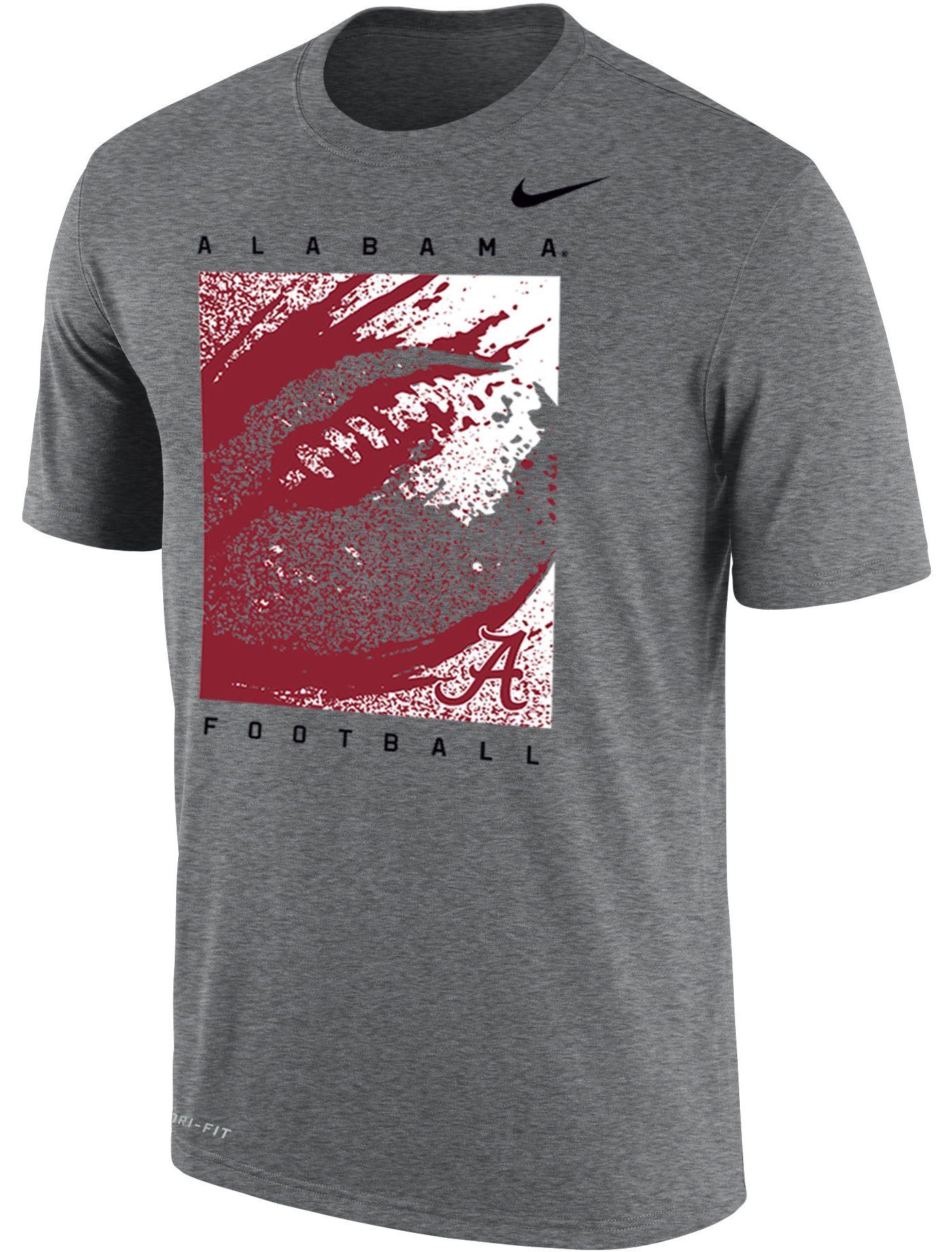 Nike Men's Alabama Crimson Tide Grey Dri-FIT Cotton Football T-Shirt