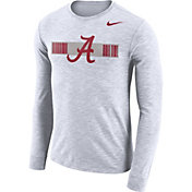 Nike Men's Alabama Crimson Tide Dri-FIT Cotton Slub Logo Long Sleeve White T-Shirt