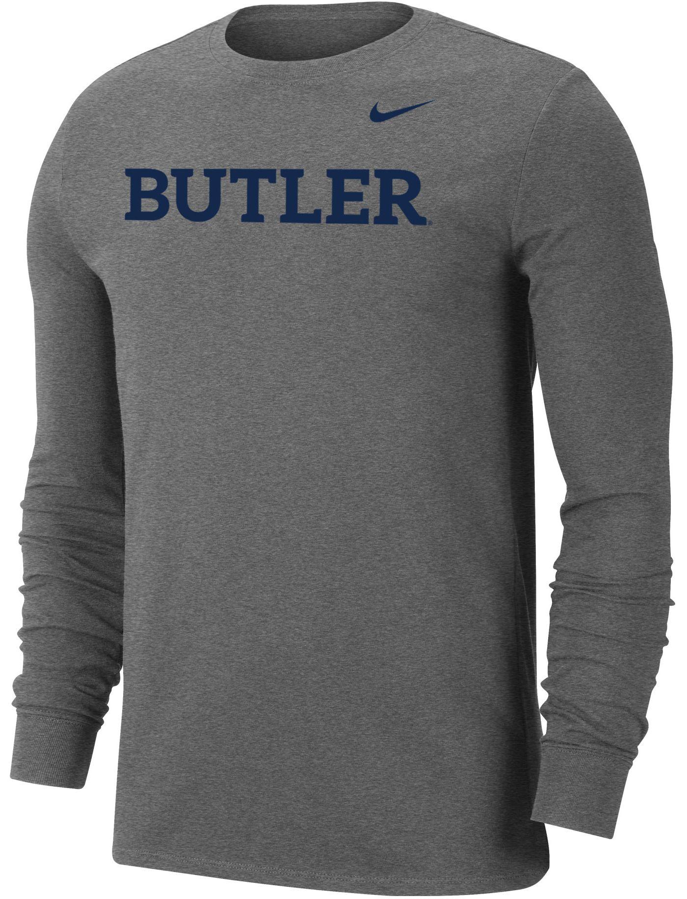 Nike Men's Butler Bulldogs Grey Wordmark Long Sleeve T-Shirt