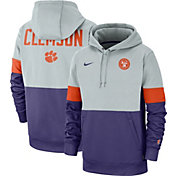 Nike Men's Clemson Tigers Grey/Regalia Rivalry Therma Football Sideline Pullover Hoodie