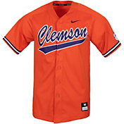 Nike Men's Clemson Tigers Full Button Replica Orange Baseball Jersey