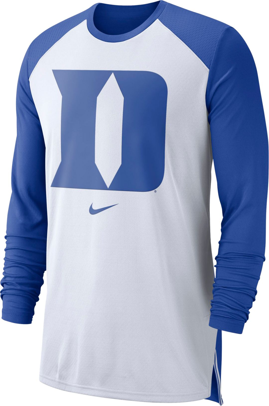 new style 44188 f980b Nike Men's Duke Blue Devils White/Duke Blue Long Sleeve Shooting Shirt