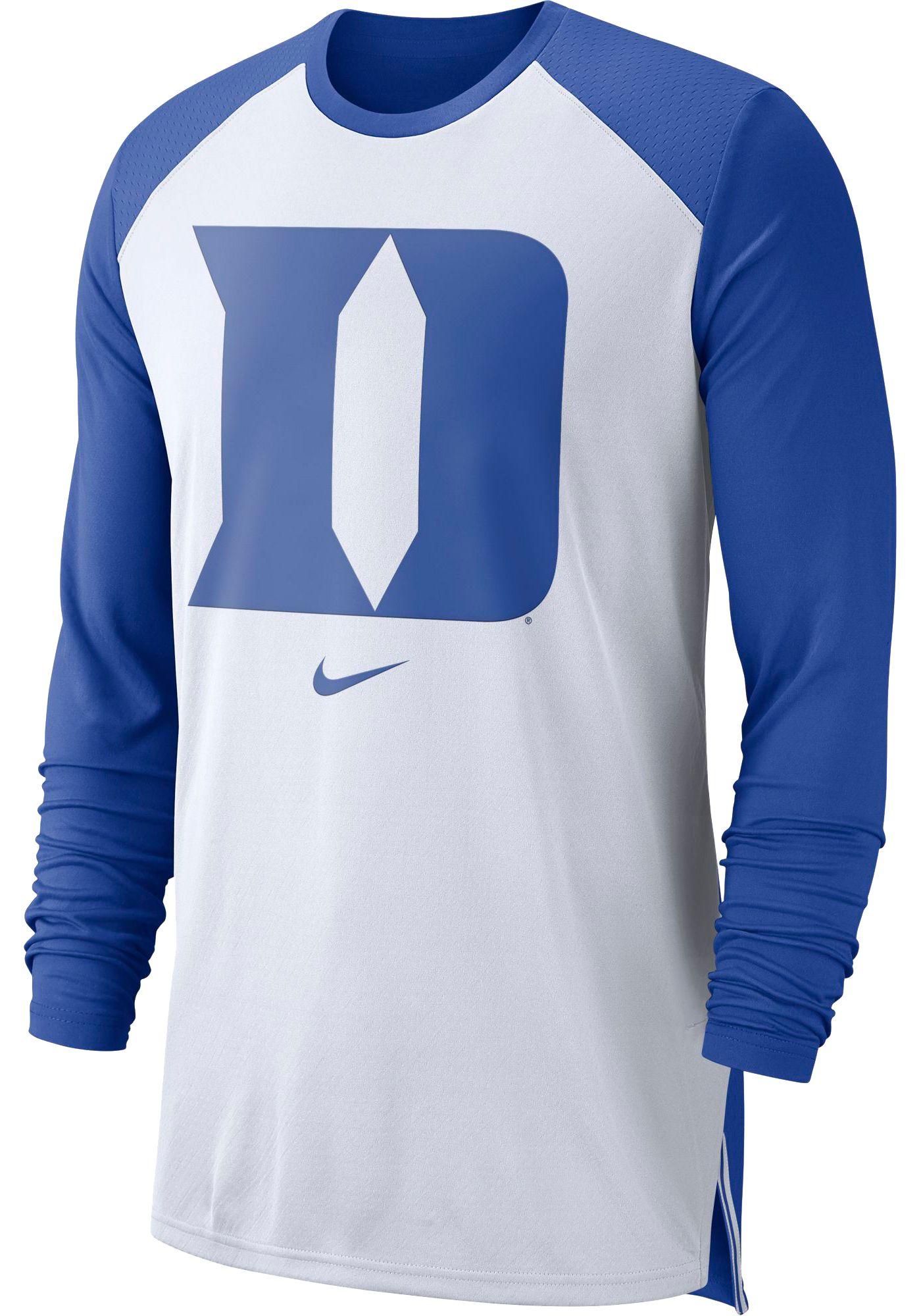 Nike Men's Duke Blue Devils White/Duke Blue Long Sleeve Shooting Shirt