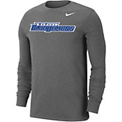 Nike Men's DePaul Blue Demons Grey Wordmark Long Sleeve T-Shirt