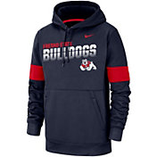Nike Men's Fresno State Bulldogs Blue Therma Football Sideline Pullover Hoodie