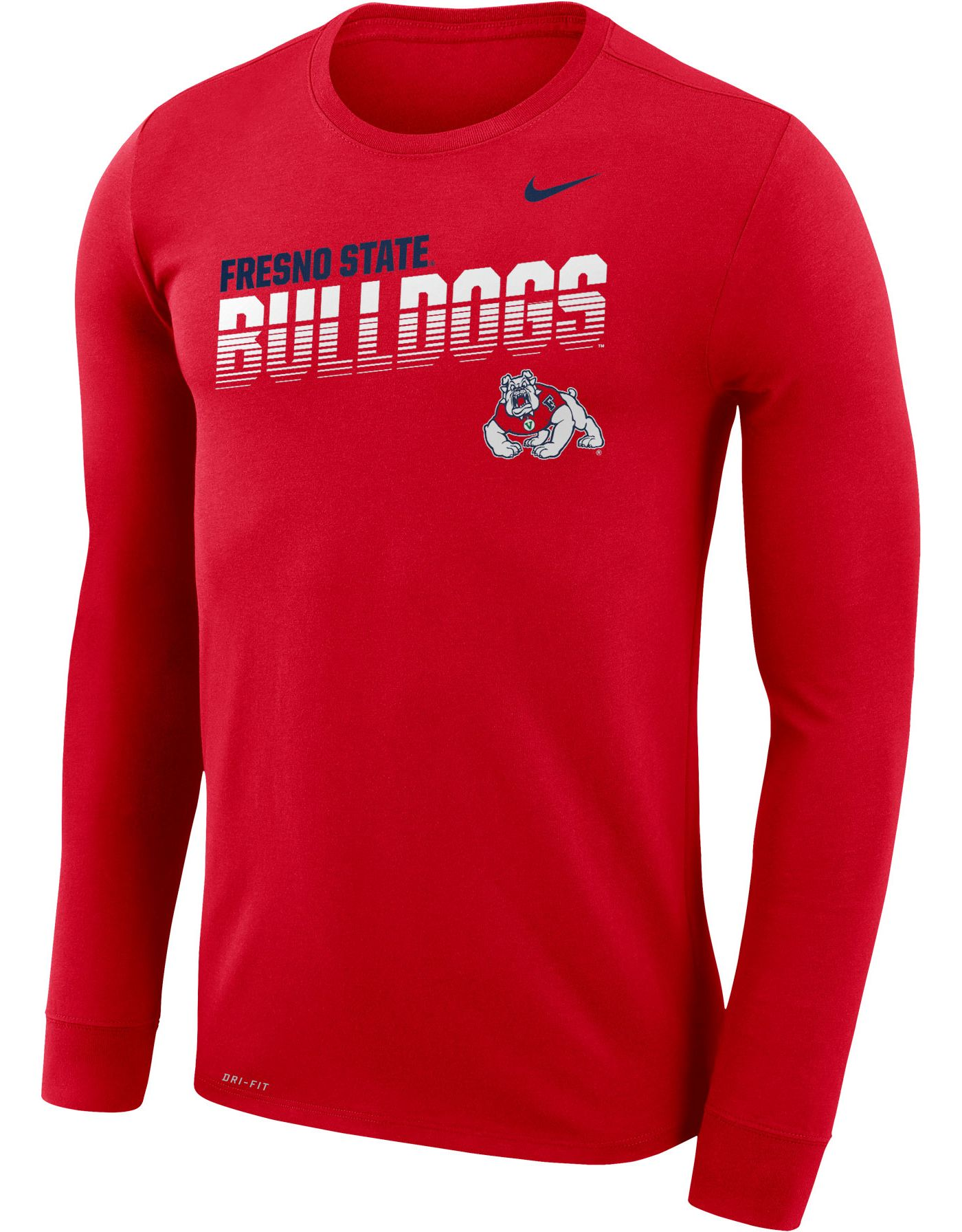 Nike Men's Fresno State Bulldogs Cardinal Legend Football Sideline Long Sleeve T-Shirt