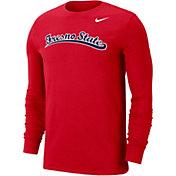 Nike Men's Fresno State Bulldogs Cardinal Wordmark Long Sleeve T-Shirt