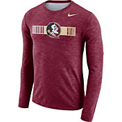 Nike Men's Florida State Seminoles Garnet Dri-FIT Cotton Slub Logo Long Sleeve T-Shirt